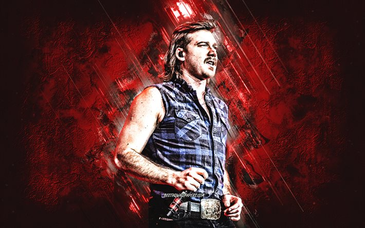 Morgan Wallen, american singer, portrait, red stone background, creative art, popular singers