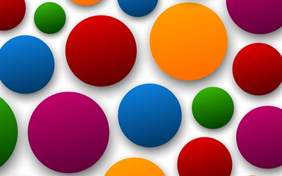 colorful circles, 4k, abstract backgrounds, material design, artwork, background with circles