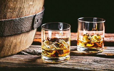 whiskey on ice, wood barrel, whiskey glasses, ice cubes, whiskey