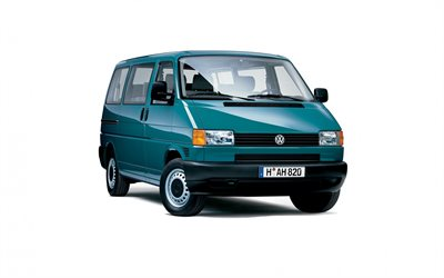 Volkswagen Transporter T4, white background, van, turquoise, minibus, German cars, Volkswagen