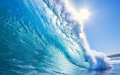 wave, ocean, summer, wave from the inside, big wave, sea