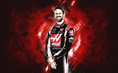 Romain Grosjean, Haas F1 Team, Formula 1, French racing driver, red stone background, F1, racing
