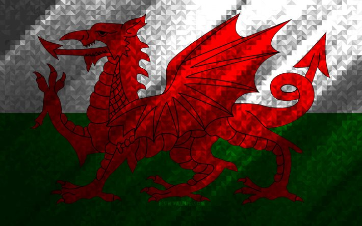 Flag of Wales, multicolored abstraction, Wales mosaic flag, Wales, mosaic art, Wales flag