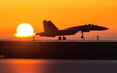 Shengyang J-11, Chinese fighter jet, military airfield, sunset, evening, J-11, Chinese Air Force