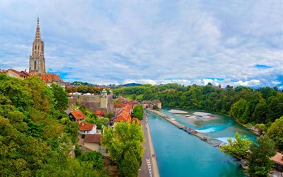 Bern, city panorama, river, Bern Cathedral, Alps, Switzerland