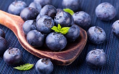 blueberries, berries, healthy food, purple forest berries