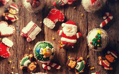 Christmas, New Year, evening, Christmas cookies, Santa Claus