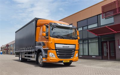 DAF CF, 2017, small trucks, cargo trucks, cargo delivery, orange cabin, transportation, CF310FA, DAF