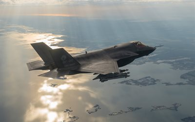 Lockheed F-35 Lightning II, 4k, fighter-bomber, US Air Force, military aircraft, F-35, USA, aircraft in the sky