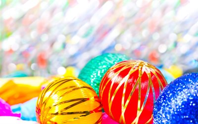 colorful balls, christmas decorations, Happy New Year, creative, christmas balls, xmas, Christmas