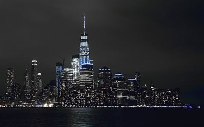 4k, New York, modern buildings, nightscapes, NYC, skyscrapers, America, USA