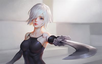 Nier Automata, art, YoRHa, warrior, 2017 games, YoRHa No2 Type B