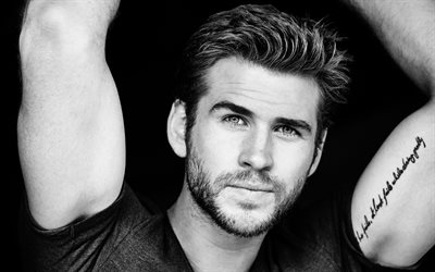 Liam Hemsworth, 4k, portrait, Australian actor, monochrome, tattoo