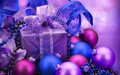 Christmas, purple xmas balls, Happy New Year, gifts, christmas decorations, xmas