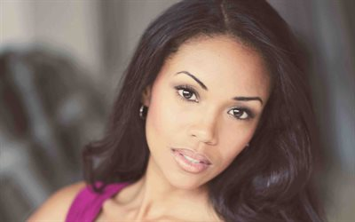 Mishael Morgan, Canadian actress, portrait, make-up, beautiful woman, Trinidadian actress