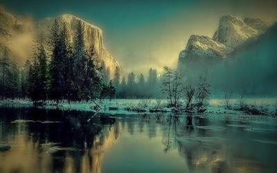 Yosemite National Park, morning, winter, river, California, USA, America