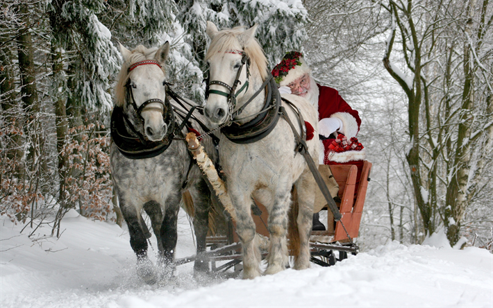 Download Wallpapers Santa Claus Sleigh Winter Horses