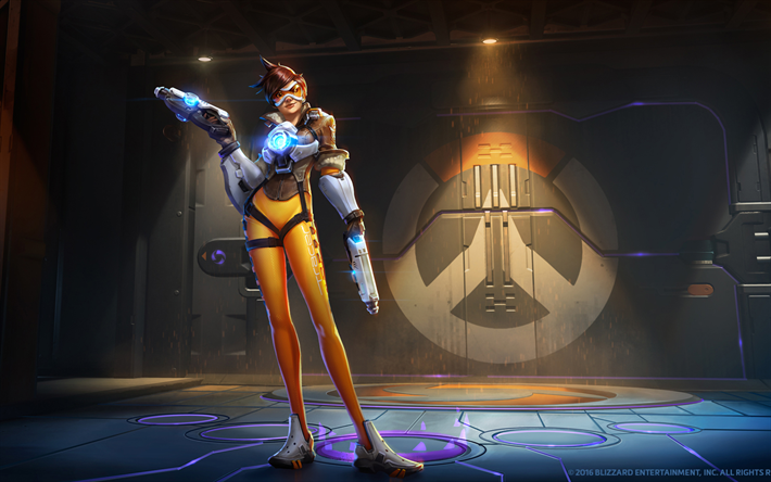 Tracer, art, characters, cyber warrior, Overwatch