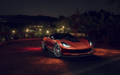 Chevrolet Corvette Z06, night, 2017 cars, headlights, supercars, orange Corvette, Chevrolet