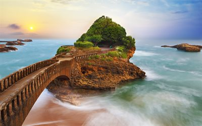 Basta Rock, 4k, sea, Big Beach of Biarritz, sunset, Basque country, France, Europe
