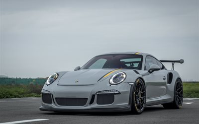Porsche 911 GT3, 2017, VAG, gray sports coupe, tuning, black wheels, aerodynamic body kit, German sports cars, Porsche