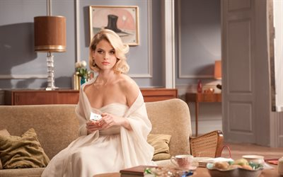 Alice Eve, 2017, british actress, Hollywood, white dress, blonde, beautiful woman