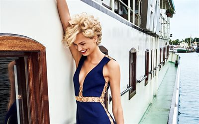 Romee Strijd, Netherlands top model, 4k, blonde, photo shoot, blue evening dress, woman on the ship