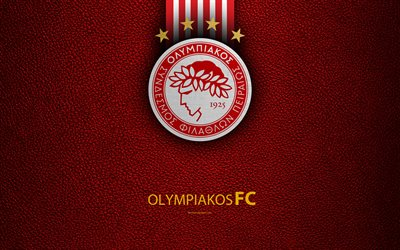 Olympiakos FC, 4k, logo, Greek Super League, leather texture, emblem, Piraeus, Greece, football, Greek football club, Olympiacos Piraeus