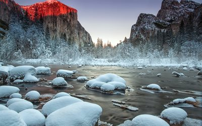 mountain river, winter, snow, forest, rocks, California, United States, Yosemite National Park, Gates of the Valley