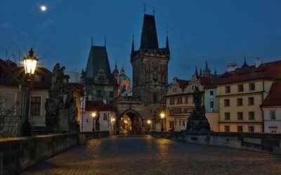 Charles Bridge, Prague, cityscape, old city, city lights, Czech Republic, moon