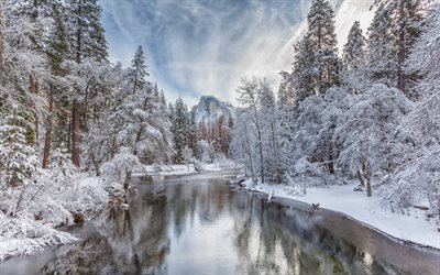 Merced River, winter landscape, forest, winter, snow, river, mountain landscape, Half Dome, Yosemite National Park, Sierra Nevada, California, USA