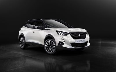 Peugeot 2008 GT Line, 4k, crossovers, 2019 cars, studio, 2019 Peugeot 2008, french cars, Peugeot