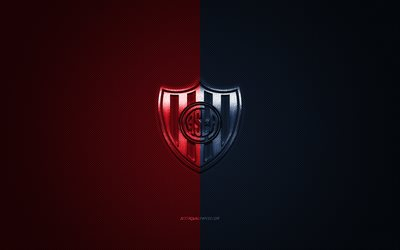 CA San Lorenzo, Argentinean football club, Argentine Primera Division, red blue logo, red blue carbon fiber background, football, Buenos Aires, Argentina, CA San Lorenzo logo, San Lorenzo de Almagro