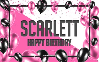Happy Birthday Scarlett, Birthday Balloons Background, Scarlett, wallpapers with names, Pink Balloons Birthday Background, greeting card, Scarlett Birthday