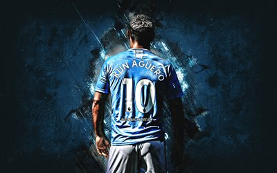 Sergio Aguero, Argentinean soccer player, Manchester City FC, blue stone background, football, Premier League, England