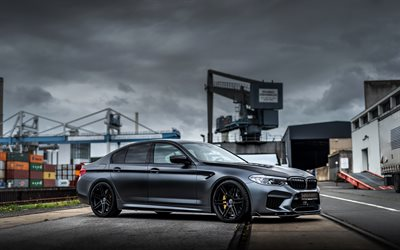 BMW M5 Manhart, F90, black sedan, black wheels, tuning F90, side view, sports cars, tuning M5, BMW