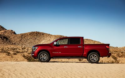 Nissan Titan, 2020, side view, red pickup truck, new red Titan, exterior, japanese cars, Nissan