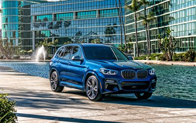 BMW X3, 2020, exterior, front view, new blue X3, german cars, luxury crossover, BMW