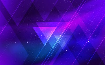 violet triangles, galaxy, geometric shapes, lollipop, lines, creative, violet backgrounds, abstract art