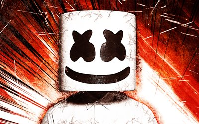 DJ Marshmello, orange grunge rays, music stars, american DJ, Christopher Comstock, superstars, grunge art, Marshmello, DJs
