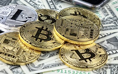 Bitcoin, BTC, Golden coins, gold signs, american dollars, electronic money, finance concepts, BTC coins