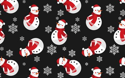 Christmas texture, retro background with snowmen, texture with snowmen, winter retro background, Happy New Year