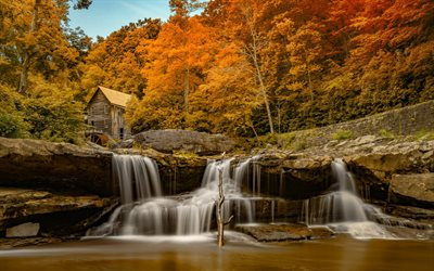 waterfall, autumn, river, autumn landscape, Glade Creek Grist Mill, New River Gorge Bridge, West Virginia, USA