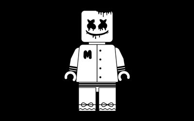 DJ Marshmello, black background, american DJ, minimal, fan art, Christopher Comstock, superstars, Marshmello, creative, Marshmello 4K, DJs, Marshmello minimalism