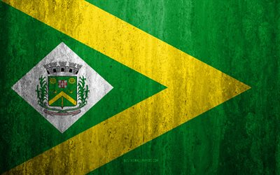 Flag of Santa Barbara dOeste, 4k, stone background, Brazilian city, grunge flag, Santa Barbara dOeste, Brazil, Santa Barbara dOeste flag, grunge art, stone texture, flags of brazilian cities