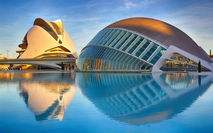 Valencia, City of Arts and Sciences, moderni arkkitehtoninen kompleksi, sunset, illalla, maamerkki, Espanja