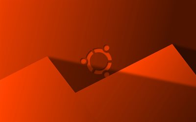 Ubuntu orange logo, 4k, creative, Linux, orange material design, Ubuntu logo, brands, Ubuntu