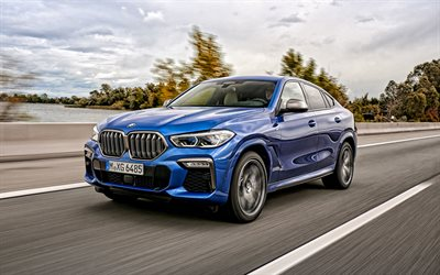 BMW X6, 2020, M50i, blue sports SUV, exterior, front view, new blue X6, German cars, BMW