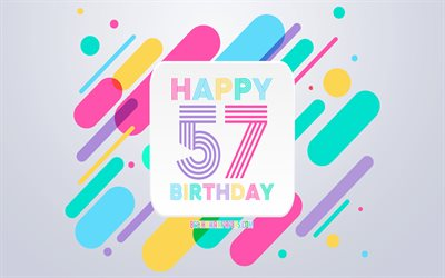 Happy 57th Years Birthday, Abstract Birthday Background, Happy 57th Birthday, Colorful Abstraction, 57th Happy Birthday, Birthday lines background, 57 Years Birthday, 57 Years Birthday party