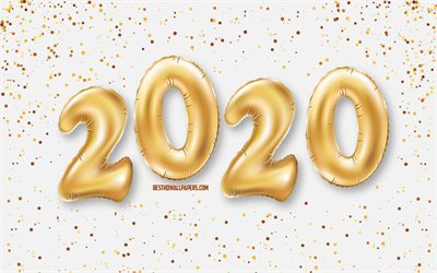 Happy New Year 2020, 2020 background with balloons, Golden balloons, 2020 concepts, New Year 2020, white background